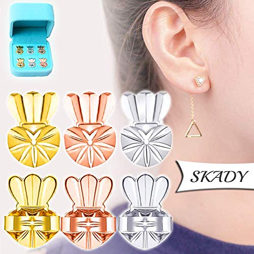 s - 3 Pairs Ear Lift - Adjustable hypoallergenics Earing Backs Lifters - 1 Pair Gold Plated 1 Pair Silver 1 Pair Rose Gold Ear Lobe Support + Jewelry Case ()