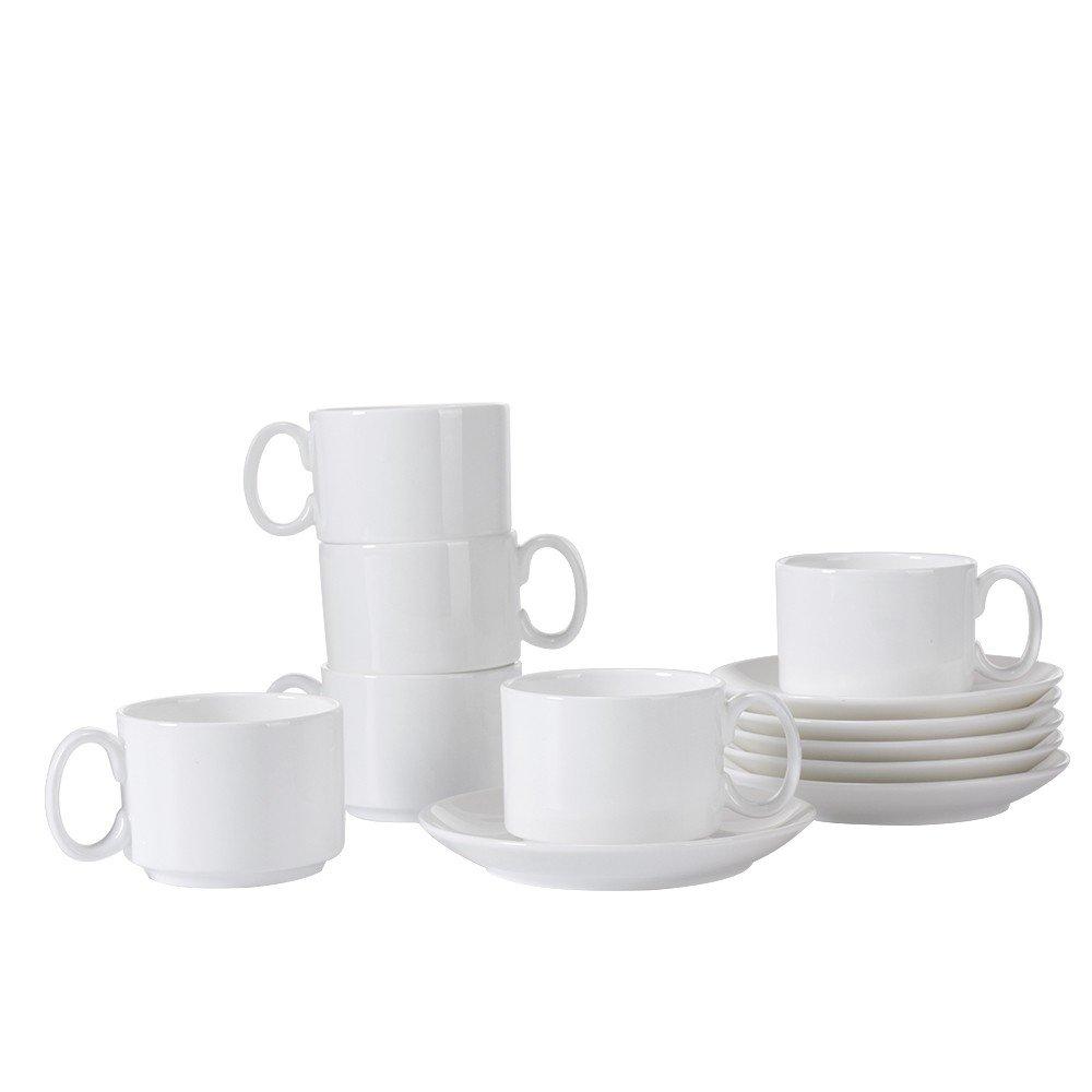 Porlien Bone China 2.5-Ounce Espresso Cups Set of 6, Stackable Demitasse Cups Set