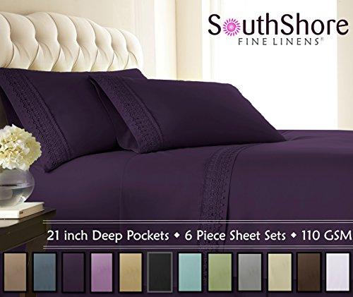 (Southshore Fine Linens 4-Piece 21 Inch Deep Pocket Sheet Set with Beautiful Lace (Cal King, Purple))