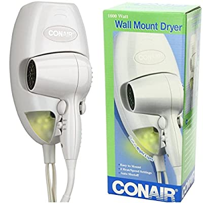 Exceptional Popular Hair Dryer with LED Nightlight Hanging Lamp Wall Mount Salon Beauty Color White