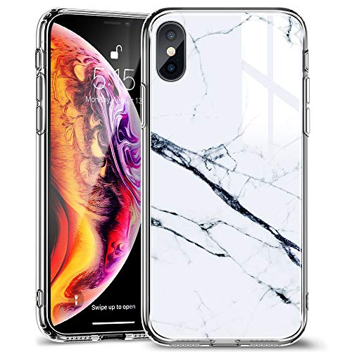 ESR Mimic Tempered Glass Case for iPhone Xs Max,9H Tempered Glass Back Cover [Mimics The Glass Back of iPhone] + Soft Silicone Bumper [Shock Absorption] for iPhone 6.5 inch(White Sierra)