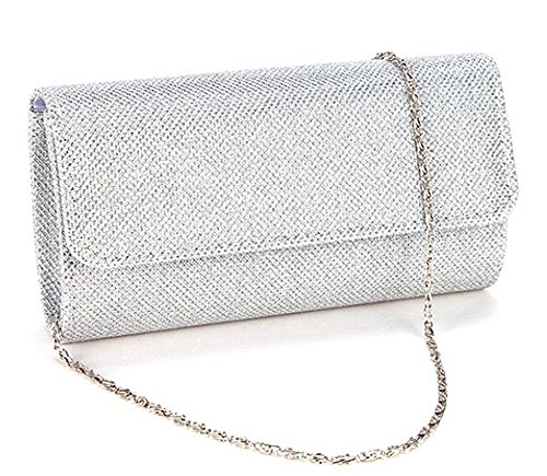 Evening Bag Clutch Purses for Women ,iSbaby Ladies Sparkling Glitter Party Handbag Wedding Bag with Chain (Silver Bag Girls)