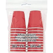 Red Plastic Shot Glasses, 20ct