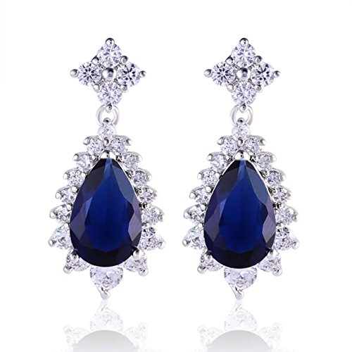 GULICX Silver Tone Blue Sapphire Color Party Rhinestone Stunning Vintage Pear Dangle Earrings (Rhinestone Tone Vintage Silver Blue)