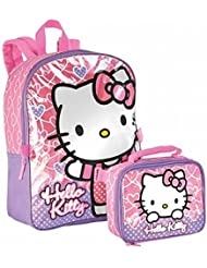 FAB Hello Kitty Pink Hearts Iridescent Backpack with Lunch Bag-16