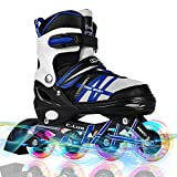 Otw-Cool Adjustable Inline Skates for Kids and Adults, Rollerblades with All Wheels Light up, Safe and Durable Inline Roller Skates for Girls and Boys, Men and Ladies