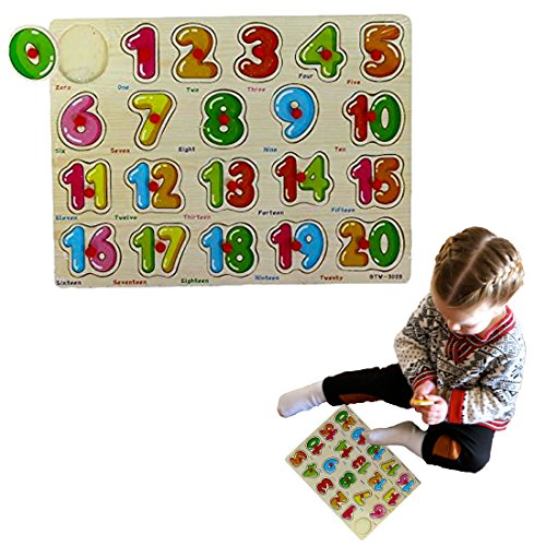 e - 20 Pc Math Learning Activity Set for kids 2 and Up - Includes Stackable Numbers 1 to 20 | Wooden Peg Puzzle Educational Board Game (20 Childrens Puzzles)