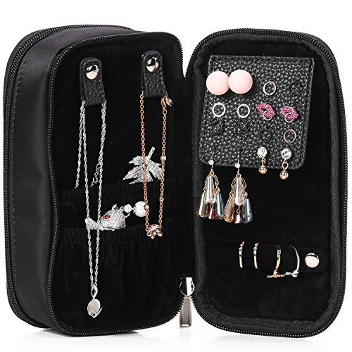 Lily & Drew Travel Makeup Jewelry Storage Carrying Case Cosmetics Organizer (V2 Black)