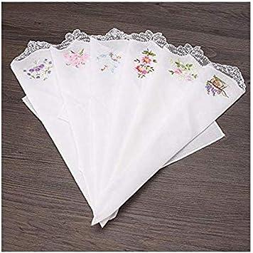 6 Pcs Women Floral Hanky Vintage Cotton Ladies Embroidered Lace Handkerchief