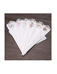 6Pcs/Lot Vintage Cotton Ladies Handkerchief Embroidered Butterfly Lace Flower Women Assorted Women Hanky