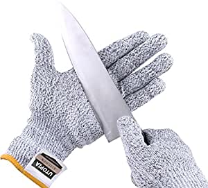 Cut Resistant Gloves - High Performance Level 5 Protection - FDA Approved - 100% Proven For Safety Gloves - by Utopia Kitchen (Large)