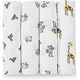 aden + anais Classic Swaddle Baby Blanket, 100% Cotton Muslin, Large 47 X 47 inch, 4 pack, Jungle Jam, Giraffe / Monkey / Elephant