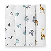 aden + anais Classic Swaddle Baby Blanket, 100% Cotton Muslin, Large 47 X 47 inch, 4 pack, Jungle Jam, Giraffe/Monkey/Elephant