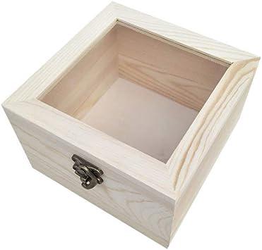 Amosfun caja de exhibición superior de cristal de madera para caja ...