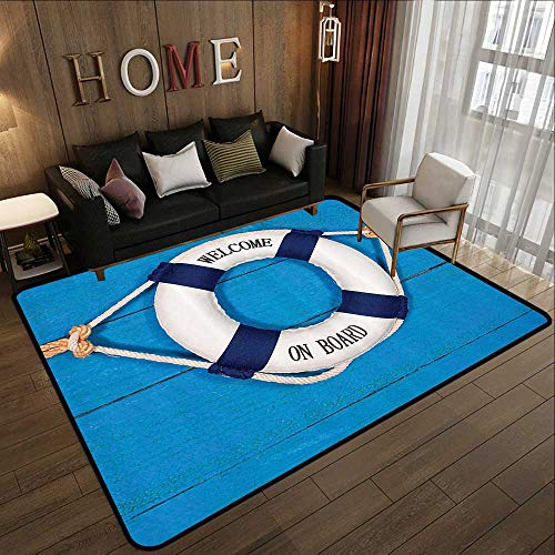 (Office Floor mats,Buoy Decor,Welcome On Board Sign On Painted Timber Wall Life Buoy Tightened with Rope 71