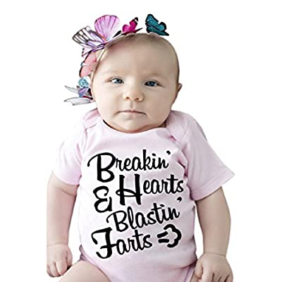 Vovomay Newborn Baby Girl Letters Funny Bodysuits Short Sleeve Rompers Outfits
