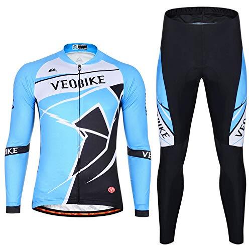 Epinki Hombre Primavera Verano Otoño Traje de Ciclismo Azul para Al Aire Libre y Multi Deportes Bicicleta Ropa Tamaño S