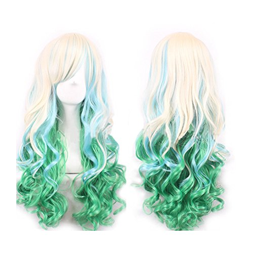 WeeH Costume Women Wigs Long Hair Cosplay Wig Spiral Curly Wavy Wigs for Wedding Party, Blue Green Gold -