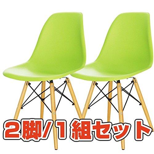 フローチェア 【2脚/1組セット】 天然木/スチール 背もたれ付き ow-112a グリーン(緑) 生活用品 インテリア 雑貨 インテリア 家具 椅子 ダイニングチェア top1-ds-1304536-ak [簡易パッケージ品] B06XZBCW4S
