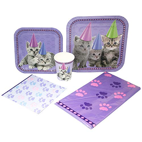 Blue Orchards Kitten Deluxe Party Packs (70 Pieces for 16 Guests!), Kitten Party, Cat Birthday Supplies]()