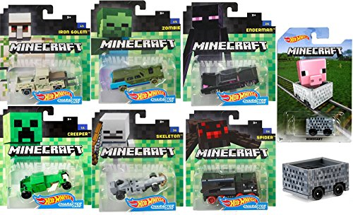 Minecraft Hot Wheels Complete 6 Character Car set & Minecart ride-on Pixel Cube Box car - Iron Golem Pickup Truck / Enderman Black Sedan / Creeper Hot Rod / Spider Hauler / Zombie Wagon / Skeleton