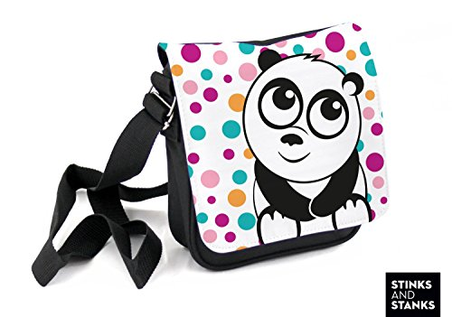 Borsa per bambini, borsa a tracolla Panda a pois HTS028