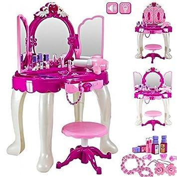Girls Glamour Mirror Makeup Dressing Table Stool Playset Toy Vanity Light U0026  Music Great Christmas XMAS
