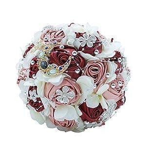 Abbie Home Silk Rose Wedding Bouquet Brooches Bridal Holding Flowers Rhinestone Décor (Burgundy+Silver) 20