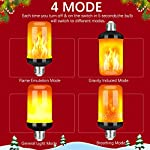 LED Flame Effect Fire Light Bulb - Upgraded 4 Modes Flickering Fire Thanksgiving/Christmas Lights Decorations - E26 Base Flame Bulb with Upside Down Effect(4 Pack)