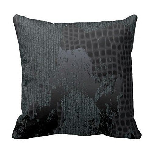 [Black Croc Skin Sweater Pillow Case] (Red Croc Pattern)