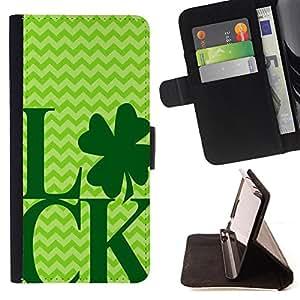 King Art - Premium-PU-Leder-Prima caja de la PU billetera de cuero con ranuras para tarjetas, efectivo Compartimiento desmontable y correa para la mu?eca FOR Samsung Galaxy S3 III I9300 I9308 I737- Good Luck Lucky