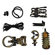Toparchery Upgrade Set of Compound Bow Accessories,Combo,5 Pin Bow Sight with Level and Light,Arrow Rest,Stabilizer,Sling,Peep Sight TP1000 (Camouflage)