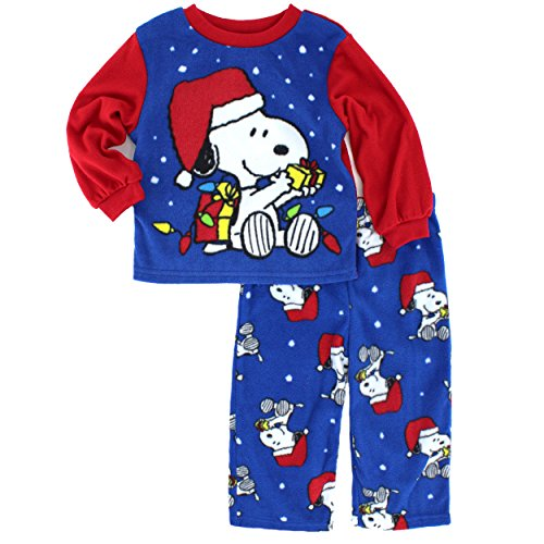 ame sleepwear peanuts snoopy boys fleece pajamas 2t snoopy santa assorted - Snoopy Christmas Pajamas