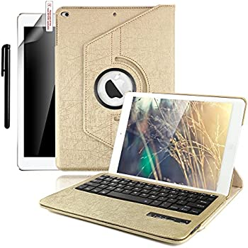 Boriyuan New iPad 9.7 inch 2017 Keyboard Case - 360 Degree Rotating Stand Cover with Bluetooth Wireless Keyboard for Apple New iPad 9.7 inch 2017 (Gold)
