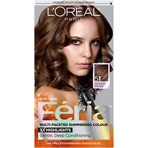 L'Oréal Paris Feria Multi-Faceted Shimmering Permanent Hair Color, 51 Brazilian Brown (Bronzed Brown), 1 kit Hair Dye (Best Chestnut Hair Dye)