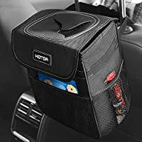 HOTOR Car Trash Can with Lid and Storage Pockets, 100% Leak-Proof Car Organizer, Waterproof Car Garbage Can, Multipurpose...