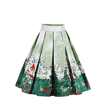Wellwits Women's Fancy Print Vintage A Line Pleated Skirt