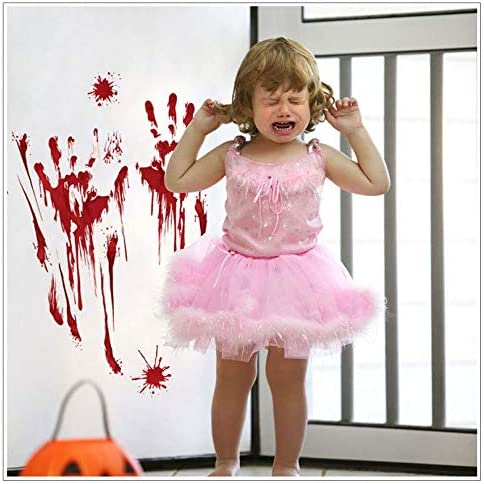 Funny Halloween Stickers 4pcs with Blood Footprints,Blood Handprints,Pumpkin,Vampire,Skull,Bat,Spider Waterproof Vinyl Stickers