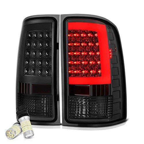 ([Full SMD LED Backup Bulbs] VIPMOTOZ Neon Tube LED Tail Light Lamp Assembly For 2007-2013 GMC Sierra 1500 2500HD 3500HD - Metallic Chrome Housing, Smoke Lens, Driver and Passenger Side)