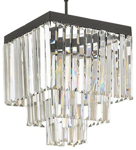 Crystal Glass Fringe 3 Lights, 3-Tier Chandelier W 12