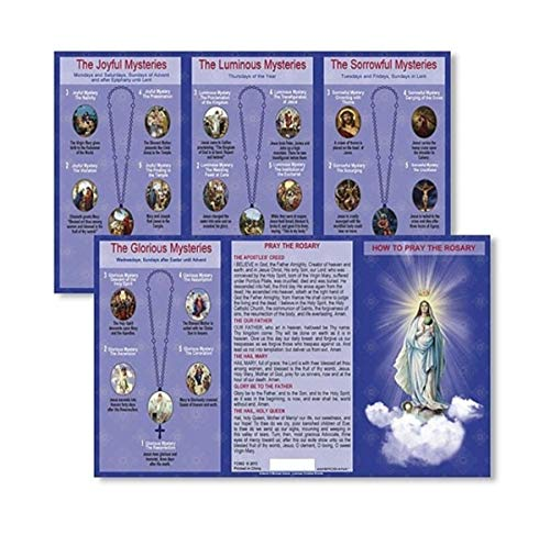 Autom Hail Mary Our Father Prayers How to Pray the Rosary Tri Fold Instructions Pocket Holy Card