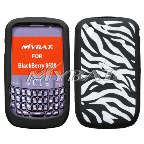 MyBat Laser Zebra Skin Cover for Blackberry 8520 (Curve) - Retail Packaging - White/Black