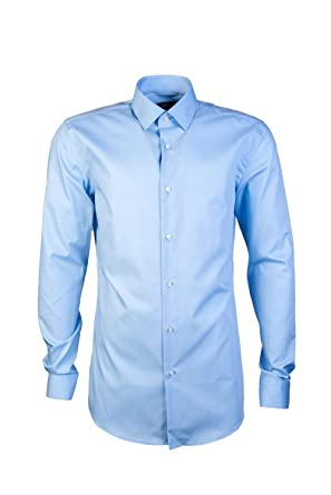 e37ff100b Amazon.com: Hugo Boss Mens Smart Shirt ISKO 50393759 Size 42 Blue ...