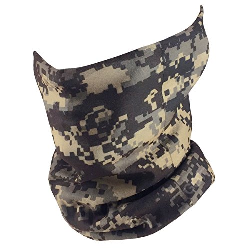 Print Cap Microfiber (Fishing Mask Camo Headwear - Works as Fishing Sun Mask, Face Shield, Neck Gaiter, Headband, Bandana, Balaclava - Multifunctional Breathable Seamless Microfiber (Gray Tactical))