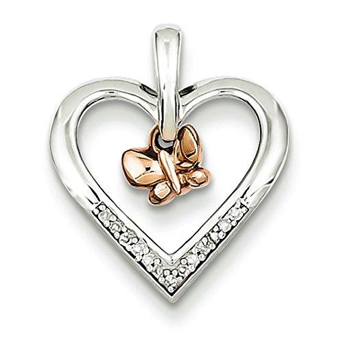 Rhodium argent Sterling plaqué or Rose 14 carats Papillon avec Pendentif Coeur-JewelryWeb