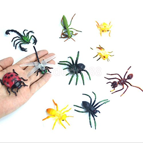10 ASSORTED FIGURE REALISTIC BUGS PLASTIC INSECTS KIDS PARTY BAG FILLER TOY by uptogethertek