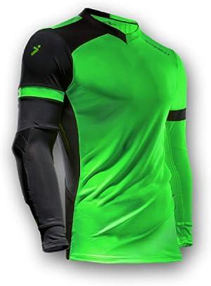 Storelli ExoShield Gladiator Goalkeeper Jersey | Padded Elbow Sleeves | Lightweight Soccer Jersey Shirt | Green | Medium