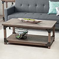 Belham Living Jamestown Rustic Coffee Table with Unique Driftwood Finish