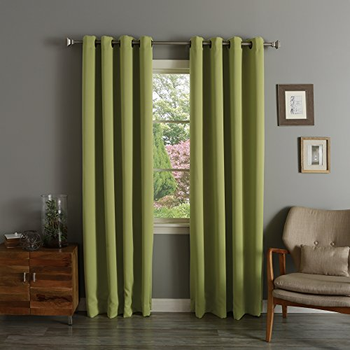 Best Home Fashion Premium Thermal Insulated Blackout Curtains - Antique Bronze Grommet Top - Avocado - 52