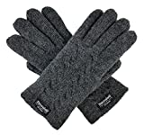 Bruceriver Ladie's Pure Wool Knitted Gloves with Thinsulate Lining and Cable design Size M (Anthra)